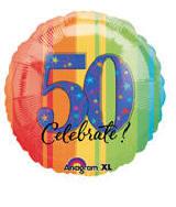 Celebrate 50th Birthday 1 18in Mylar Balloon Item 717087 UPC Code 048419765950 Price 179 Ea